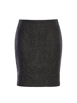 Faux-Leather Embroidered Skirt