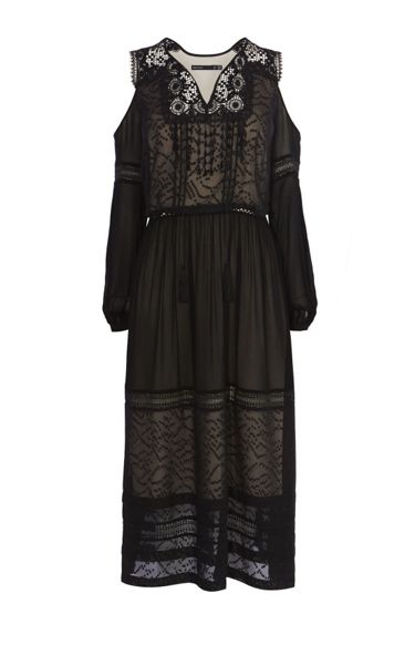 Karen Millen Black Mesh Cold-Shoulder Dress