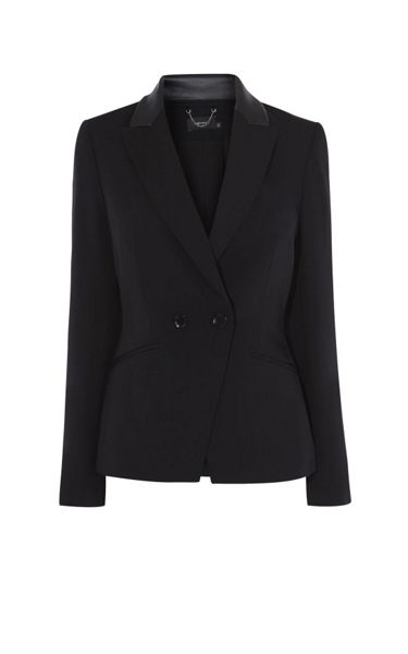 Karen Millen Leather-Collar Tuxedo Jacket