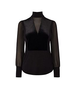 Velvet And Sheer Panel Top