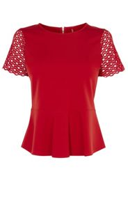 Karen Millen Lace-Sleeve Top