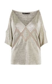 Karen Millen Metallic Cold-Shoulder Top