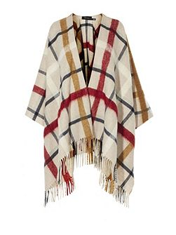 Check Wool Poncho