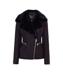 Midnight Wool Biker Jacket