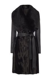 Karen Millen Faux Fur  Wrap Coat