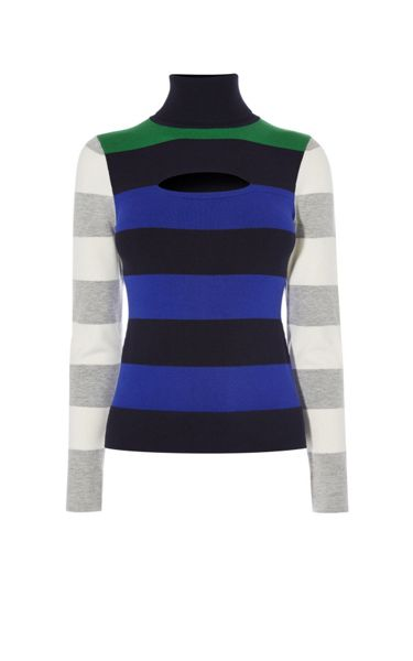 Karen Millen Colourblock Stripe Turtleneck
