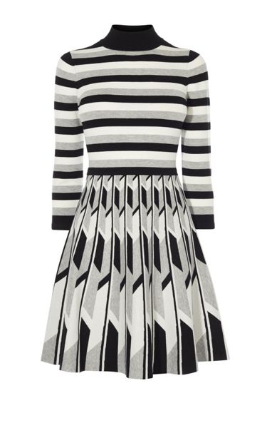 Karen Millen Monochrome Geo Knit Dress