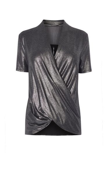 Karen Millen Metallic Wrap Top