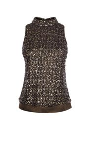 Karen Millen Metallic Sequin Turtleneck