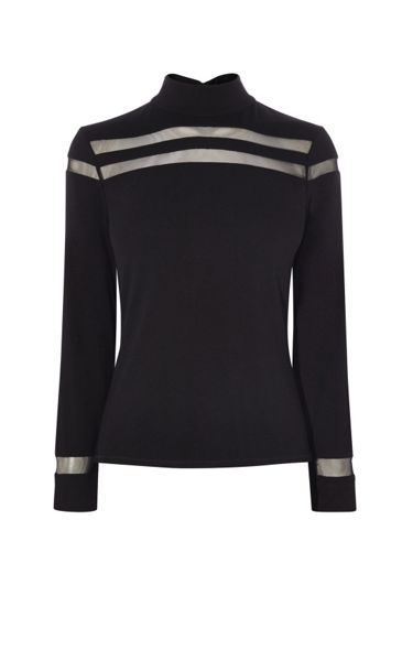 Karen Millen Sheer Panel Turtleneck