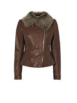Sheepskin And Leather Aviator Jacket
