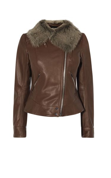 Karen Millen Sheepskin And Leather Aviator Jacket