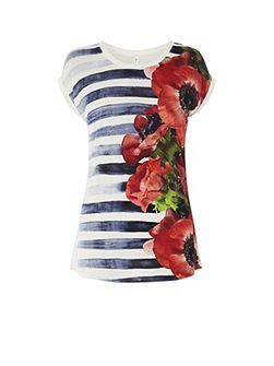Hand Painted Floral Breton Tee