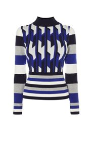 Karen Millen Blue Geo Knit Jumper