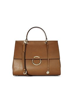 Large O-Ring Leather Handbag