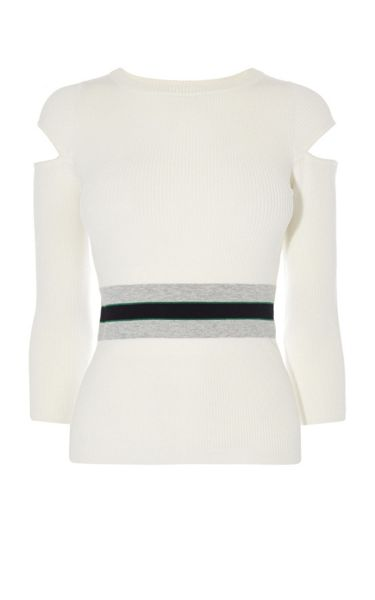 Karen Millen Sporty Cold-Shoulder Jumper