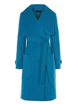 Blue Belted Wool Coat