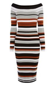 Karen Millen Off-The-Shoulder Stripe Dress