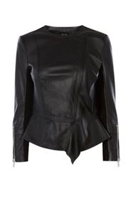 Karen Millen Drape Front Leather Jacket
