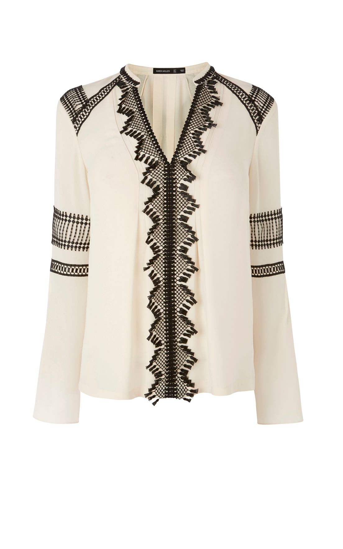 Karen Millen Lace Detail Blouse, White