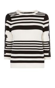 Karen Millen Lace-Detail Striped Jumper