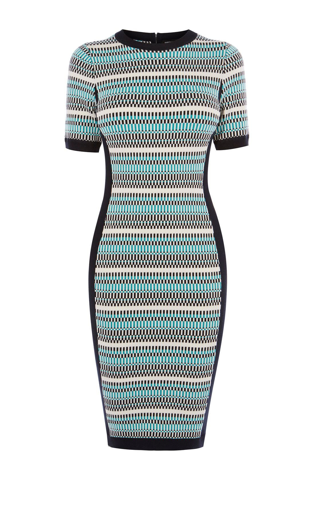 Karen Millen Striped Fitted Knit Dress, Multi-Coloured