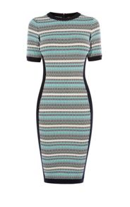 Karen Millen Striped Fitted Knit Dress