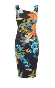 Karen Millen Tropical Lily Print Pencil Dress