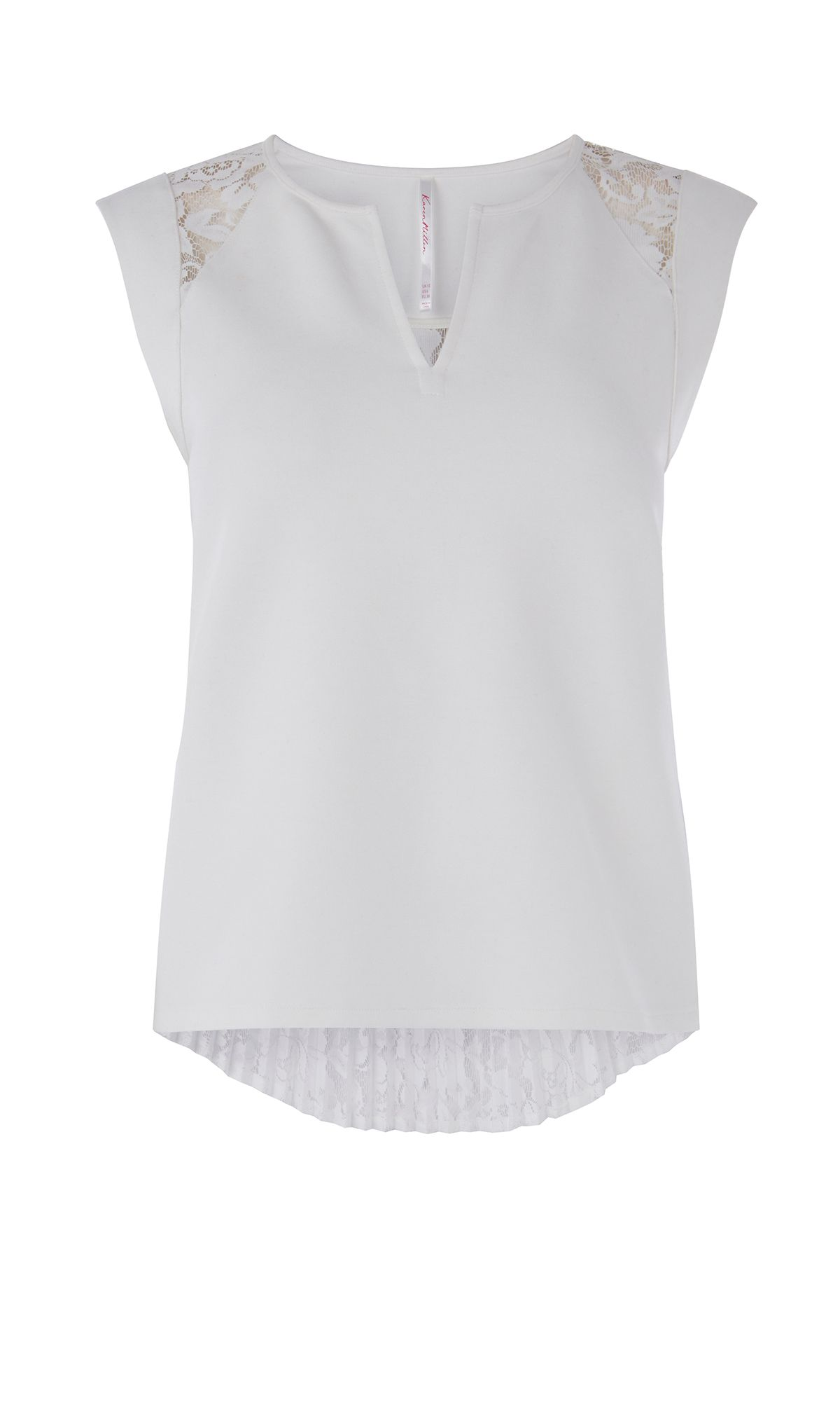 Karen Millen Lace Back Jersey Top, White
