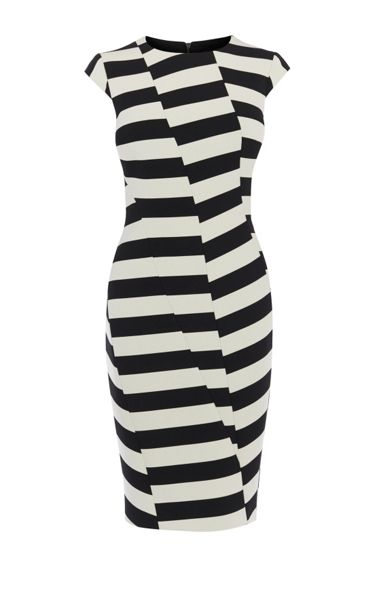 Karen Millen Block-Stripe Pencil Dress
