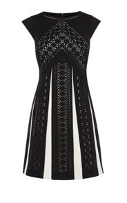 Karen Millen Laser Cut Monochrome Dress