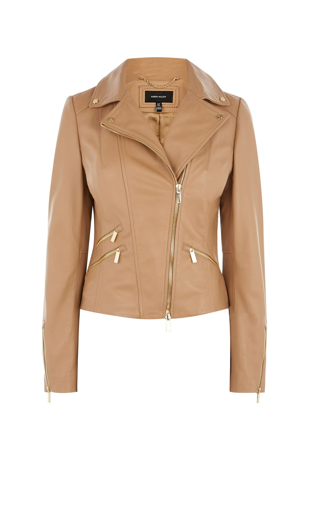 Karen Millen Tan Leather Biker Jacket, Neutral