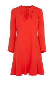 Karen Millen Lace And Frill Neckline Dress