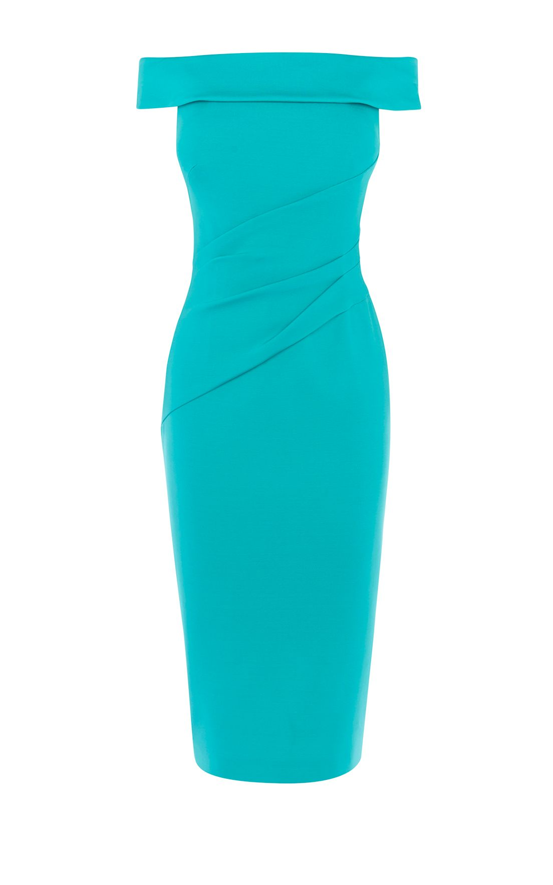 Karen Millen Bardot Shoulder Pencil Dress, Turquoise
