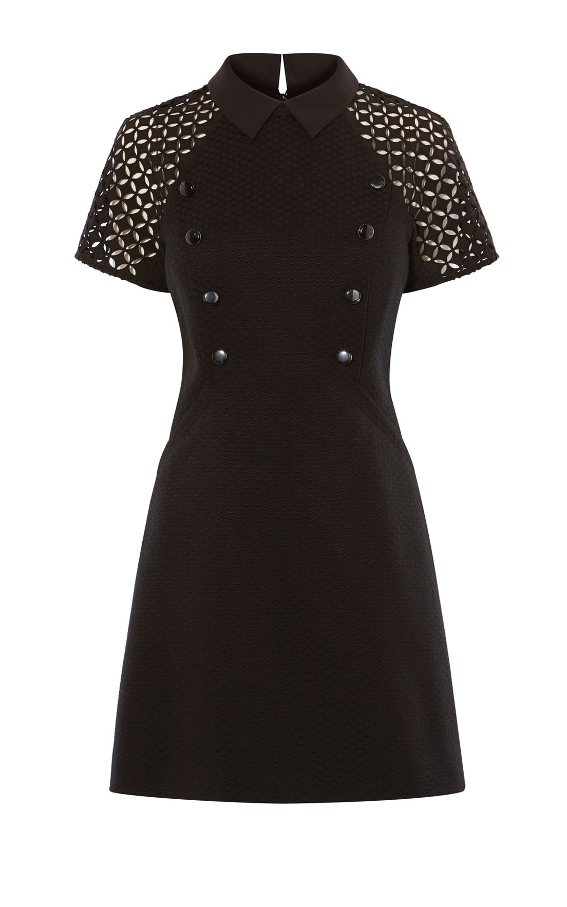 Karen Millen High-Neck Jacquard, Black