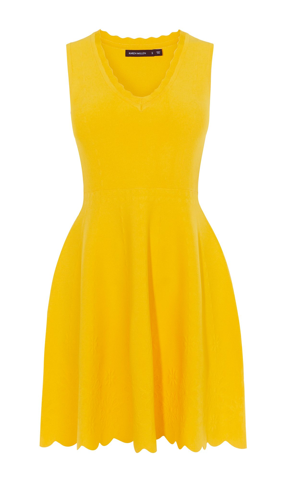 Karen Millen Jacquard Fit And Flare Dress, Yellow