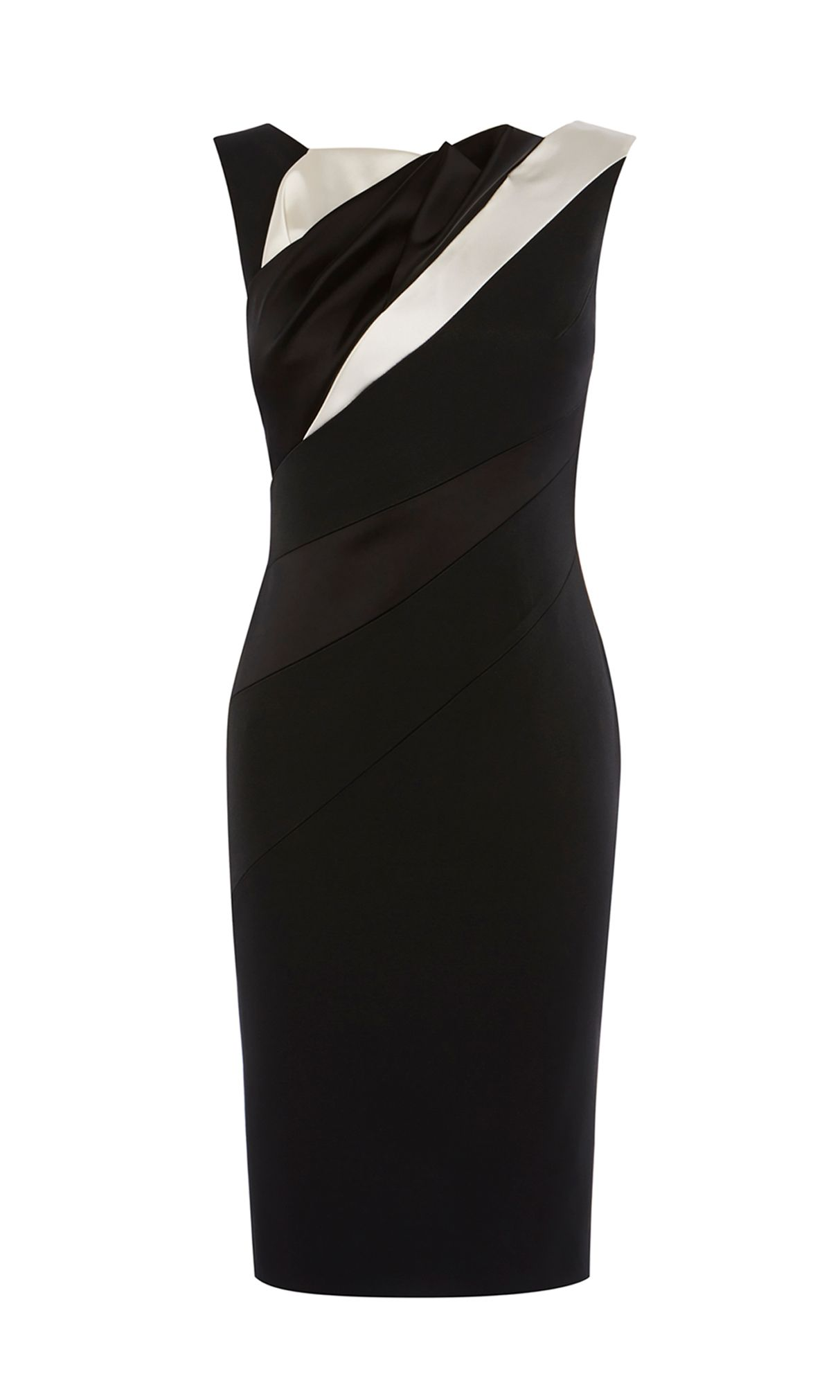 Karen Millen Diagonal Seam Pencil Dress, Black/White