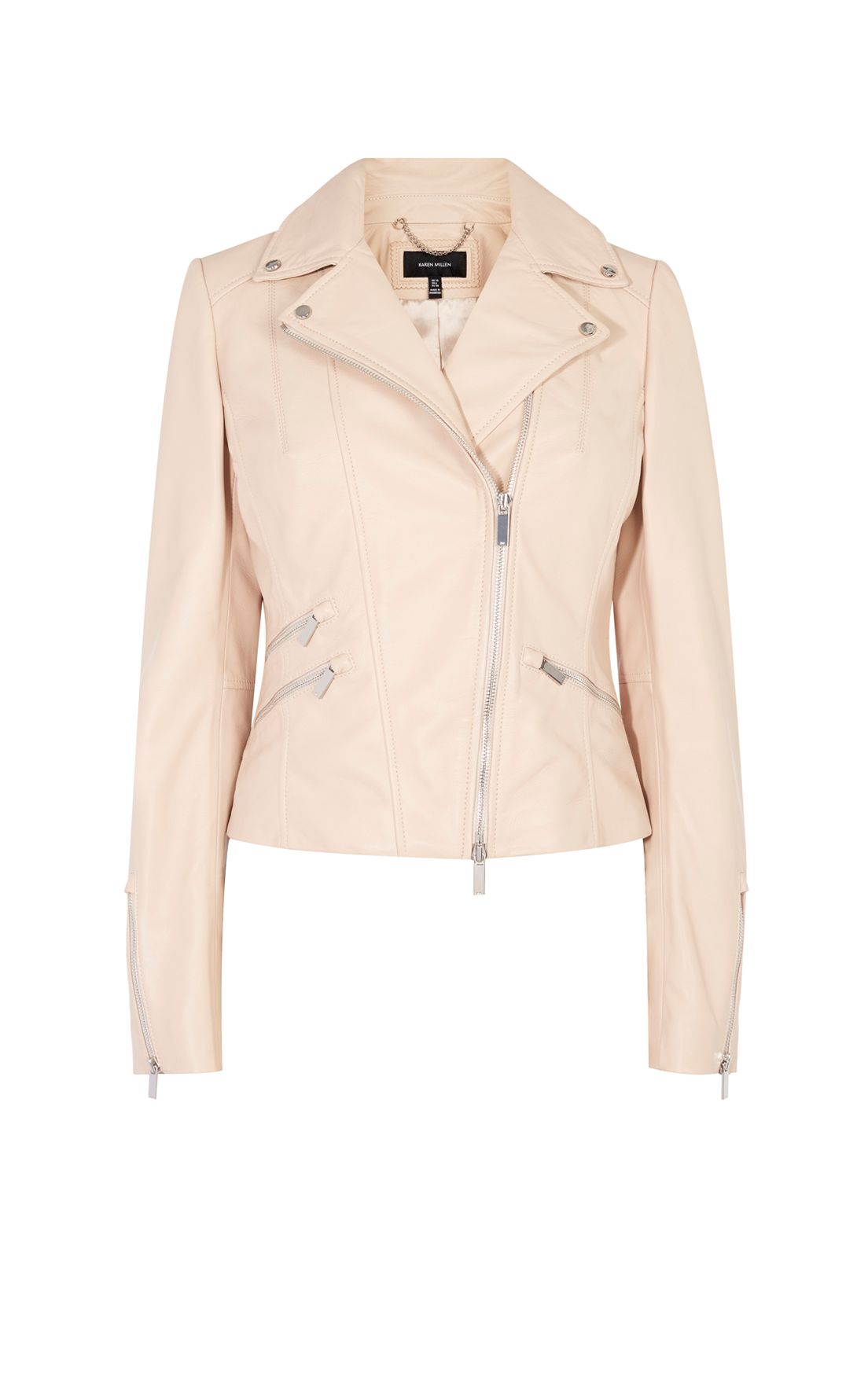 Karen Millen Nude Leather Jacket, Pastel Pink