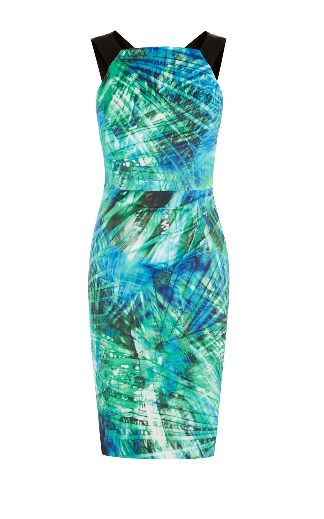 Karen Millen Vibrant Palm Print Dress MultiColoured