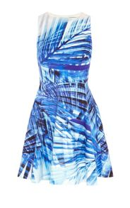 Karen Millen Blue Palm Print Dress