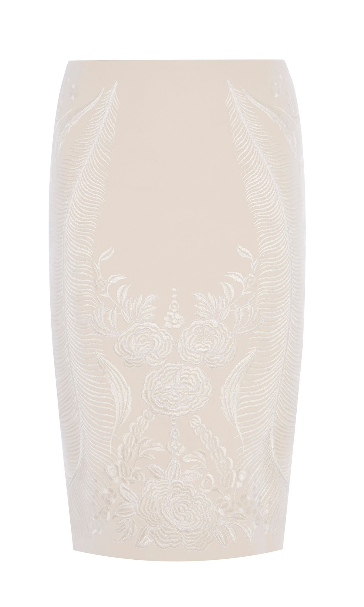 Karen Millen Embroidered Pencil Skirt, Neutral