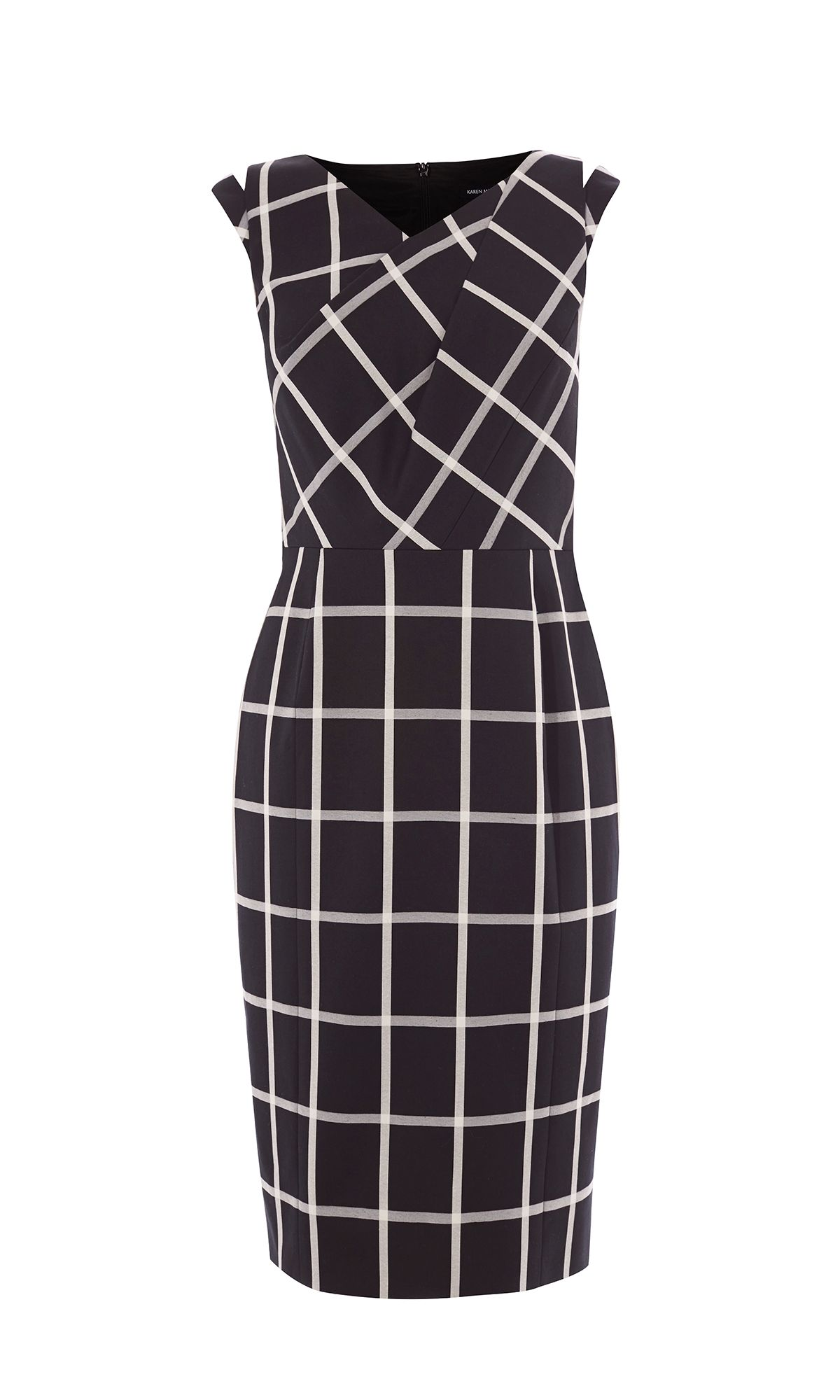 Karen Millen Windowpane Check Dress, Black/White