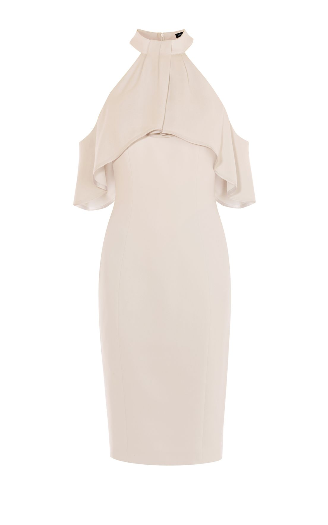 Karen Millen Draped Cold Shoulder Dress, Nude