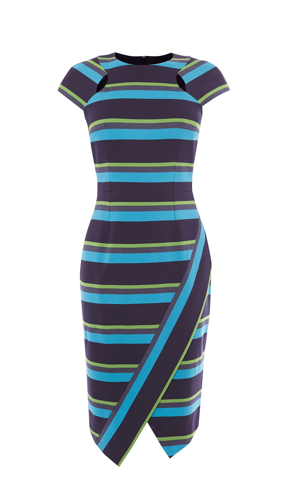 Karen Millen Striped Asymmetric Pencil Dress Blue Multi