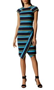 Karen Millen Striped Asymmetric Pencil Dress
