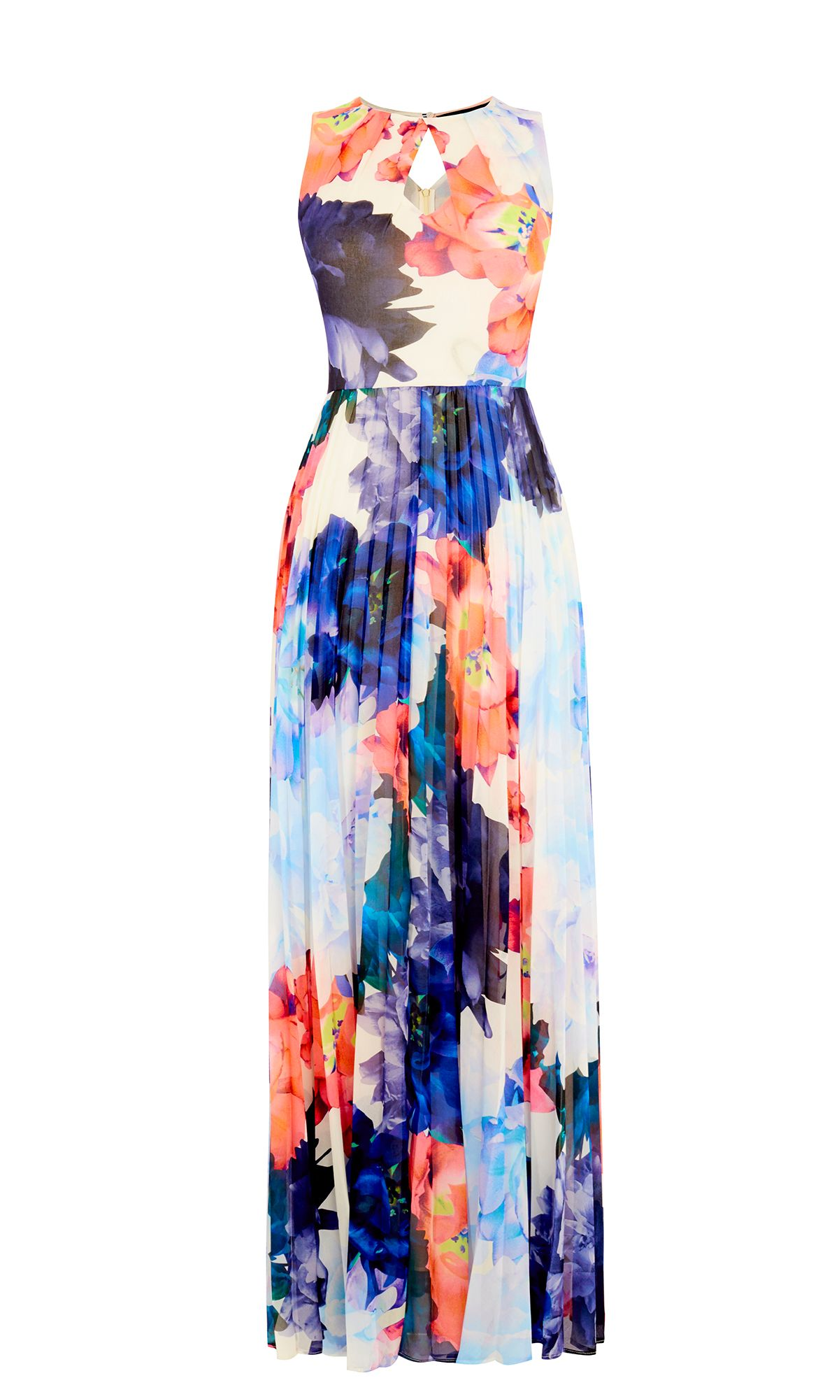 Karen Millen Floral Pleated Maxi Dress, Multi-Coloured