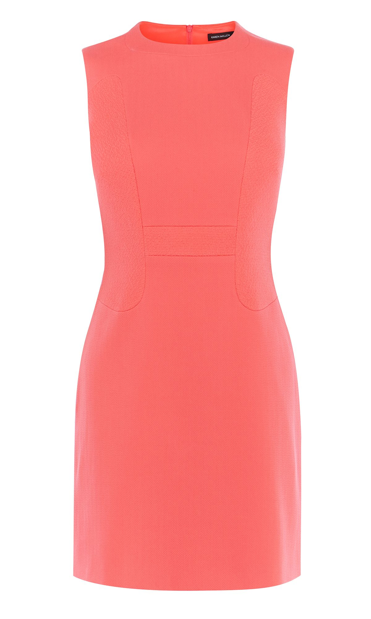Karen Millen Textured Fitted Dress, Coral