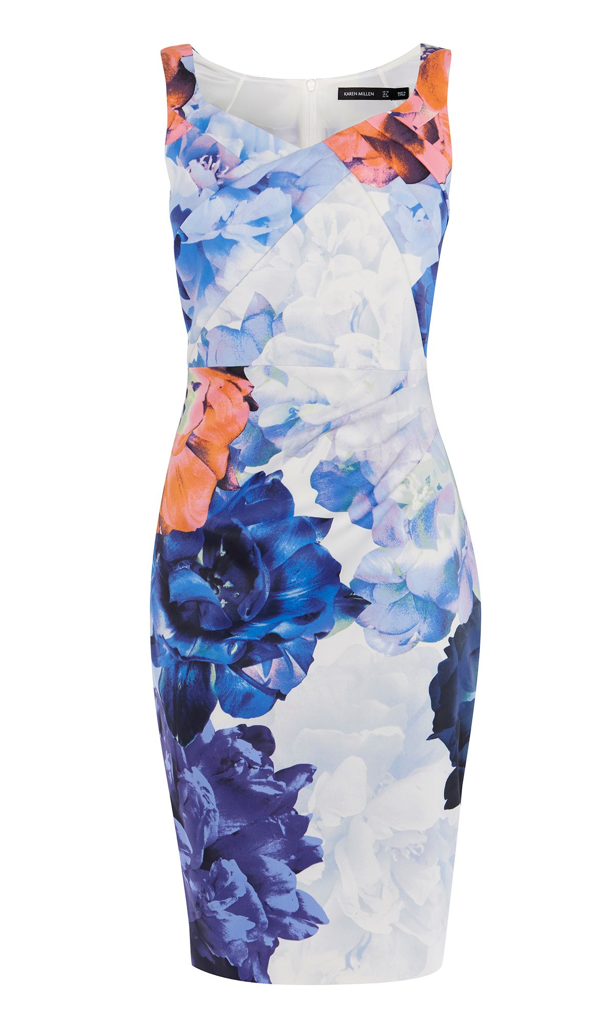 Karen Millen Floral Draped Pencil Dress, Multi-Coloured