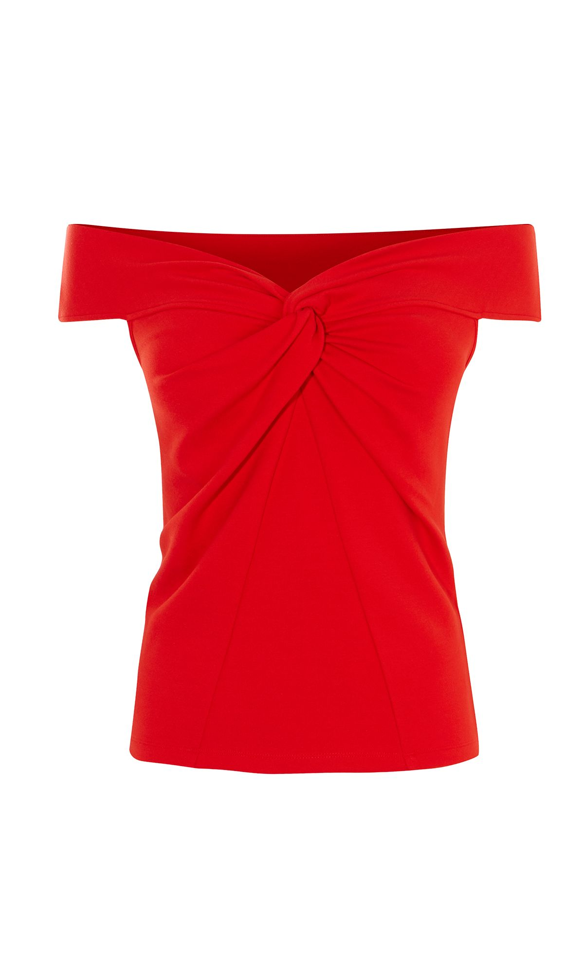 Karen Millen Off The Shoulder Knotted Top, Red
