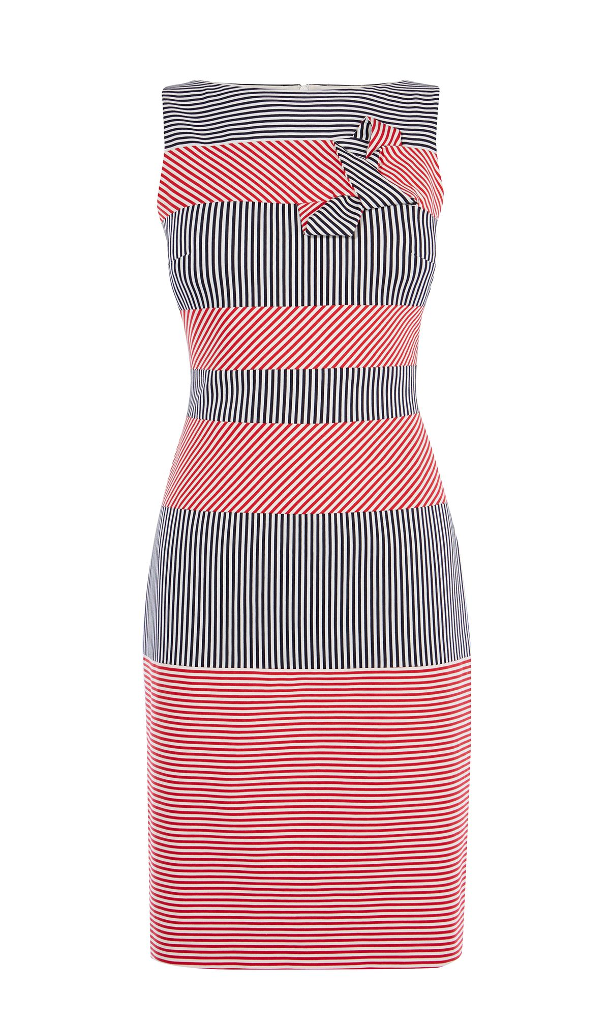 Karen Millen Red & Blue Stripe Pencil Dress, Multi-Coloured